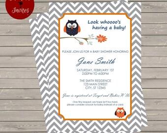 Chevron Owl Baby Shower Invitation-Printable-You Choose Colors!
