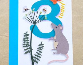 3rd birthday card, 3 today card, happy 3rd birthday, three card, third birthday, three year old card, hand illustrated 3 today, three