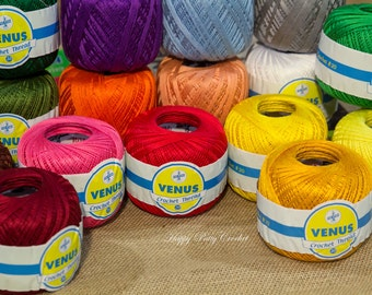 Cotton Thread Size #20 - 50gr Ball - VENUS Crochet Thread - 100% Mercerized Crochet Cotton Thread