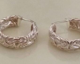 """Vintage Byzantine Style Sterling Silver 925 1"""" Hoop Earrings 12.5 Grams"""