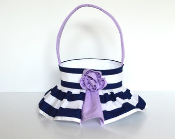 Navy Stripe Wedding Flower Girl Basket, your choice of 40 accent colors, shown in navy and lavender