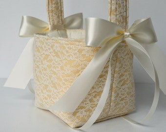 Lace wedding flower girl basket, custom made in your color selections, shown in champagne tan fabric and ivory lace overlay with bows