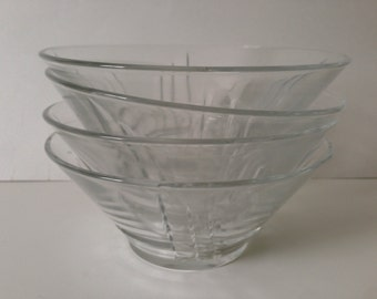 Vintage, mid 20th century art deco Luminarc glass dessert bowls