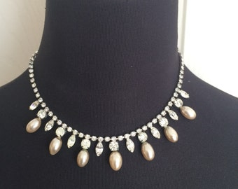 Vintage Pearl Drop and Marquis Rhinestone 1940s to 1950s Necklace Adjustable Rhodium Plated Bridal Wedding
