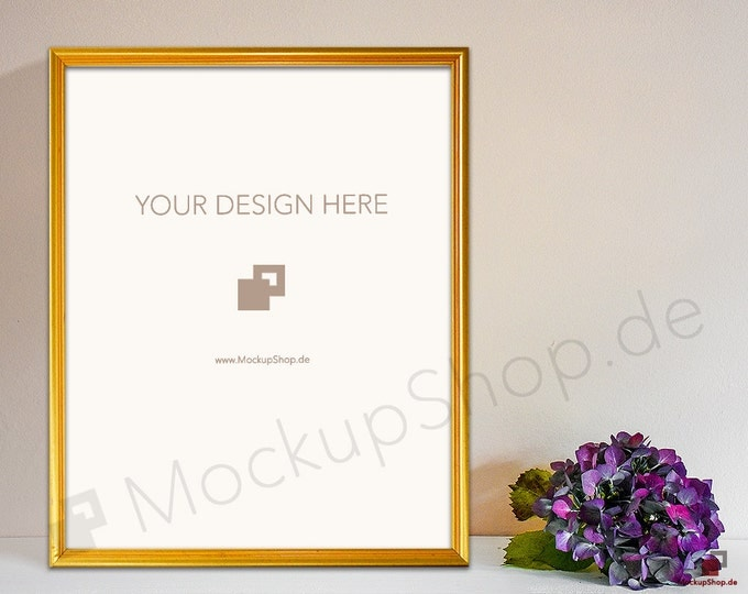 8x10 GOLD FRAME MOCKUP // Empty Frame Mockup // Gold Mockup with Flowers // Empty Gold Frame Mockup // Gold Mockup Photo / Gold Mockup Frame