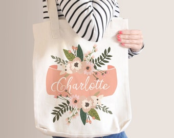 Personalized Floral Tote Bag | Bridesmaid Tote Bag | Bridesmaid Gift | Peach Floral Banner | Custom Name Canvas Tote Bag | Sister Gift