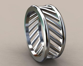 White Gold 8 mm Mens Wedding Band with Open Bar Design, 14kt White Gold Wedding Ring with Openess, Wide Mens Ring with Unique Look 8mm Wide