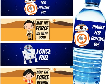 Space Wars Printable Water Bottle Labels, Instant Download, Water Bottle Labels, DIY, Water Bottle Wrappers, Lip Balm, Chapstick, Invitation