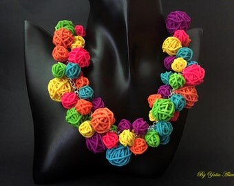 Coloured Polymer Clay Beads, Multicolor necklace, Polymer necklace, Multicolor Beads, Bright necklace, Rainbow necklace, Summer necklace
