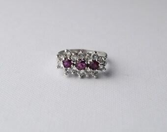 Vintage Sterling Silver Cluster Ring - Vintage Ring - Vintage Cluster Ring - Vintage Engagement Ring - Vintage Bling Ring - size K 5 1/4
