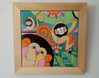 Vintage Funky Monkey Wall Tile/ Plaque/ Made in Japan