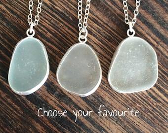 Sea glass pendant, cornish seaglass, seaglass necklace, seaglass pendant, sea glass jewelry, sea glass jewellery, seaglass silver necklace,
