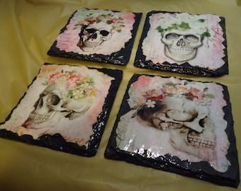 Slate skull coasters