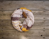 Mustard Yellow Chevron and Triangles Cream and Tan Infinity Scarf, Soft Fall Scarf Year-Round Lightweight Scarf Winter Scarf