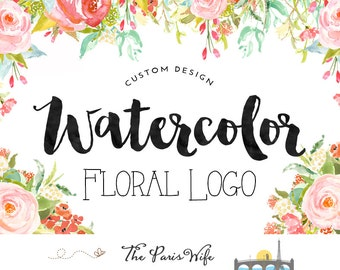 Custom Logo Design watercolor floral logo design watercolor logo photography logo wedding logo wordpress website logo blog boutique branding
