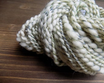 Handspun Yarn, Art Yarn, Mini Skein, Blue Faced Leicester Wool, BFL, Cream Blue Green
