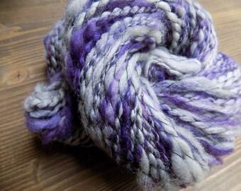 Handspun Yarn, Art Yarn, Hand Dyed Yarn, Corridale Cross Yarn,  Purple Gray