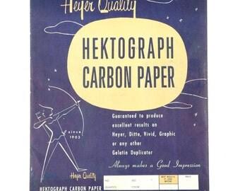 1958 Heyer Quality Hektograph Carbon Paper Vintage 11 x 9 Retro Design Black Tracing Paper Duplicator
