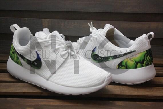 174572d98b77 The Hulk Nike Roshe Run Triple White Custom Men   by NYCustoms 30 ...
