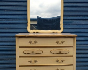 Vintage French Provincial 3 Drawer Dresser and Mirror