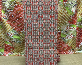 "OBI Nagoya Obi kimono sash ""chenged pattern of Shokko "" Latin America-ish Hitoe Obi very good condition"
