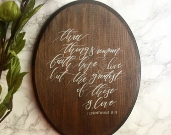 1 Corinthians 13:13 wooden oval wall hanging
