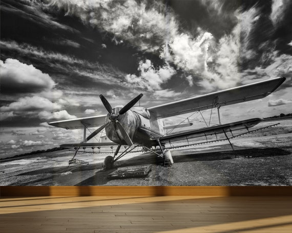Wall mural old propeller airplane on field peel and stick for Aviation wall mural