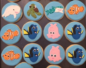 12 DORY NEMO new under the sea inspired ocean creatures Cookies birthday party theme