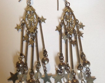 Silver chandelier style earings with stars