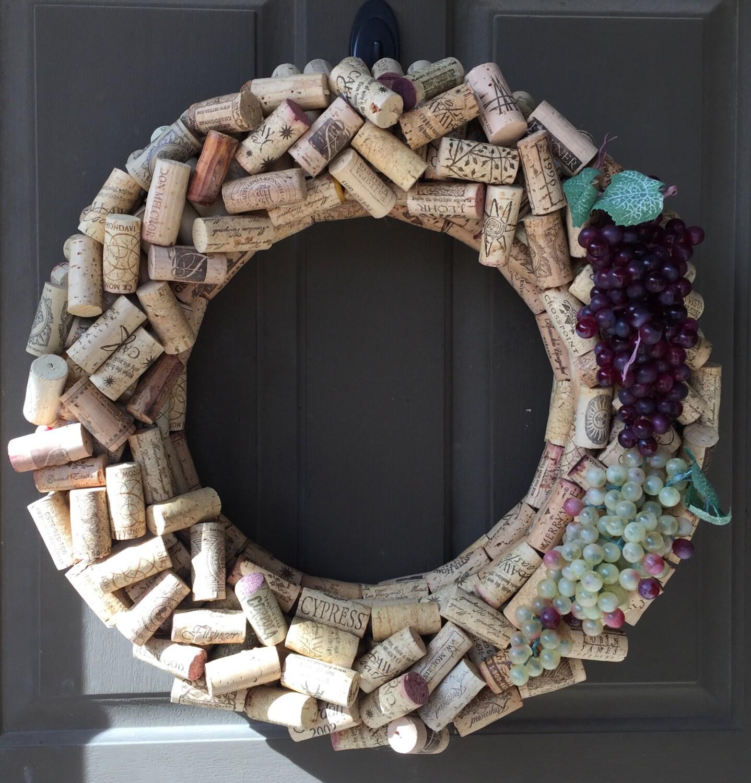 Cork Wreath: Wine Cork Wreath With Grapes Hand Made Custom Wine By