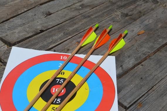 Archery arrows, 3 vintage wood arrows. 25 # arrows