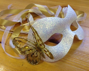 White Glitter Mask Christmas Masquerade Ball Gold Butterfly
