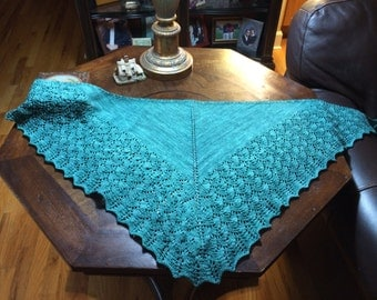 HandKnit Shawl - Sea Green Triangular Shawl