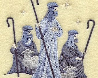 SILENT NIGHT NATIVITY Shepherds With their Flocks Christmas Scene Machine Embroidered Quilt Square, Art Panel