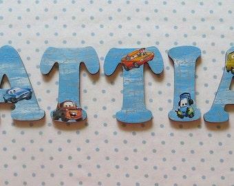 Wooden nursery letters - Cars