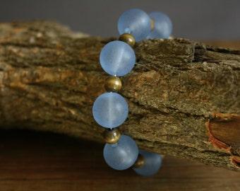 Vintage blue beaded bracelet stretch bracelet gift for Mom wood bead jewelry