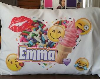 "Personalized Pillowcase // Emoji Pillowcase // Emoji Pillow // Autograph Pillowcase // Standard Pillow Case 20"" x 30"" // PC 1006"