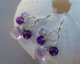 Pink Amethyst Earrings - sterling silver, gold filled, ear wire, lever backs, purple amethyst, February birthstone, natural gemstones