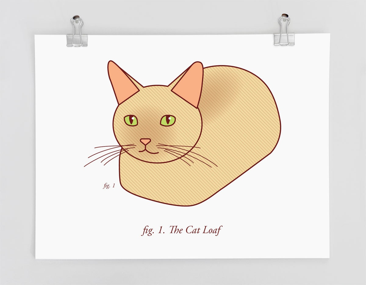 Funny Cat Art Print The Cat Loaf Cat Lovers