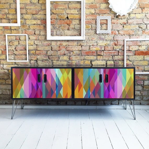 Upcycled mid century Gplan sideboard tv cabinet Cole & Son Prism