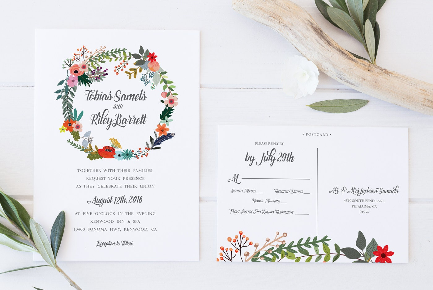 Printable Wedding Invitations Kits: Printable Wedding Invitation DIY Wedding Invitation Kit