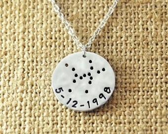 Hammered Taurus Necklace, Custom Taurus Jewelry, Personalized Zodiac Necklace, Constellation Necklace, Zodiac Jewelry, Taurus Birthday Gift