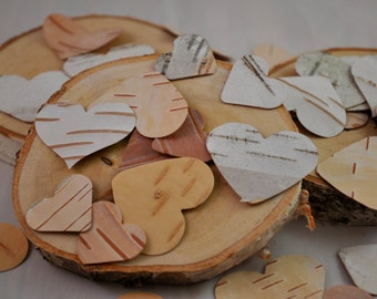 Birch Bark Hearts - 100 per order - Wedding Favors - Birch Logs - FREE SHIPPING