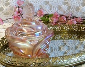 Iridescent Pink Flower Candy Dish , Butterfly Finial Lid, Wedding or Shower Gift, Fenton Lidded Dish, Vanity Decor, Gift for 30, Mothers Day