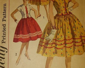 Simplicity 3430 rockabilly  1950 1960  western vintage dress pattern