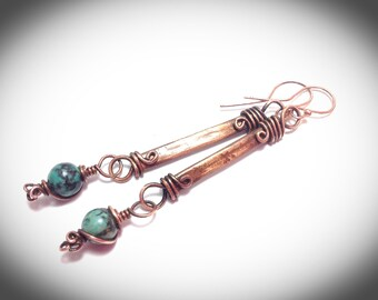 Blue picasso copper stick earrings