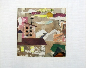 Original mini Abstract Painting. Applique. Watercolor & color ink. Little Town 2. Decor for Children Playroom