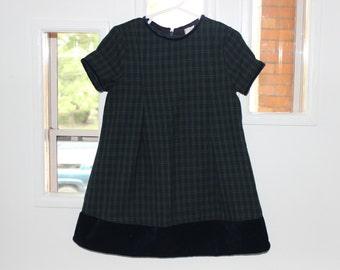 Plaid, velvet Christmas dress navy blue and green 3t school girl flannel