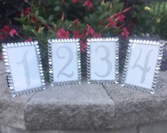 Table Number Frames 4 X 6 Crystal Bling Wedding Silver Glitter