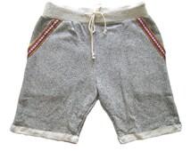 Boho Men Sweat Short Pant Vintage Yoga Jogging Beachwear Hawaiian Bohemian Aztec Gray Color Gypsy Pants